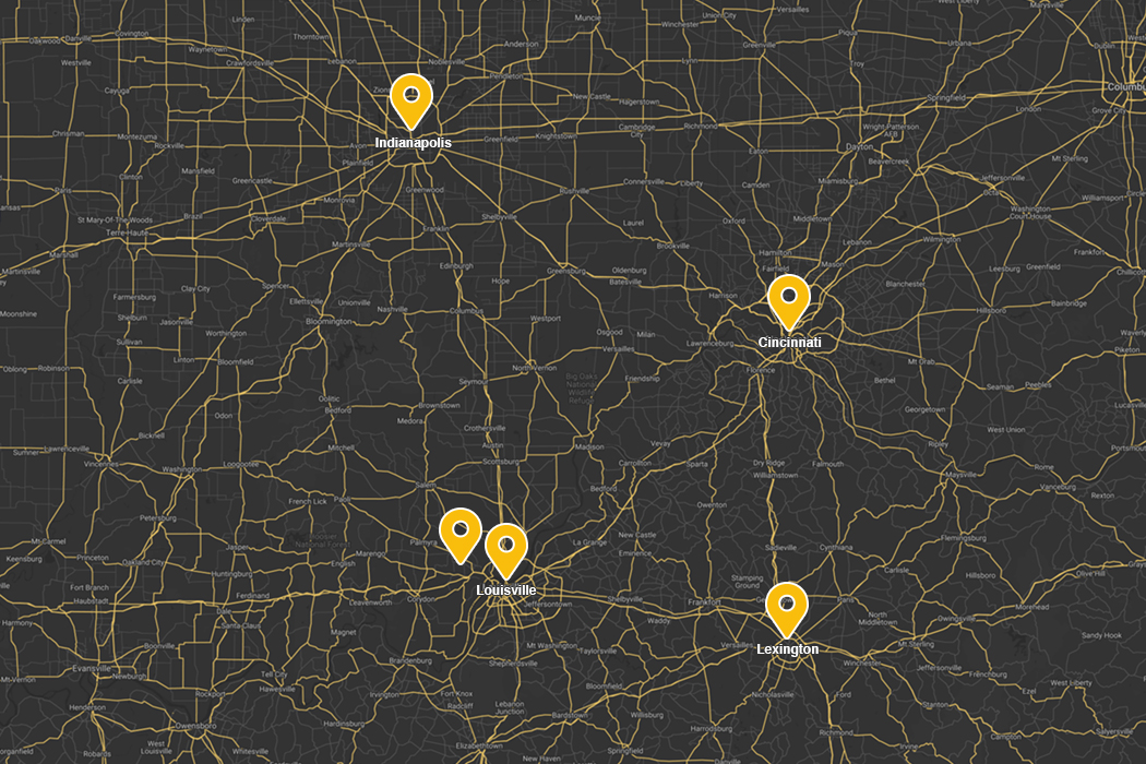 map of Indiana and Kentucky showing MCM locations